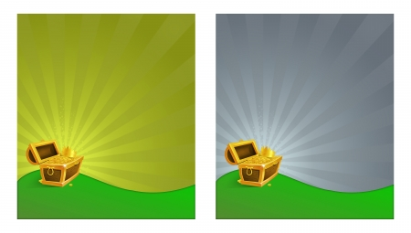 Set of illustrations of a treasure chest on lawn