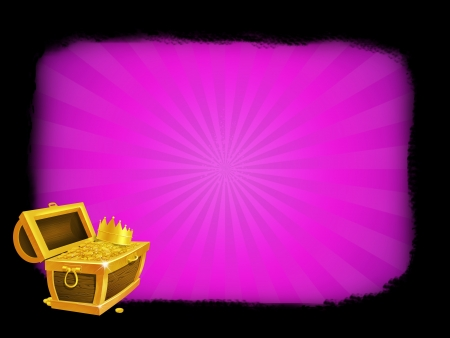 Illustration of a treasure chest with frame