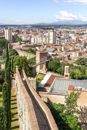 View of the walls of Girona, Spain Stock Photo