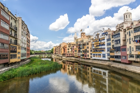 View of Girona from river Onyar, Spain