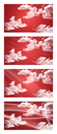 Set of abstract backgrounds with clouds and rays of light Stock Photo