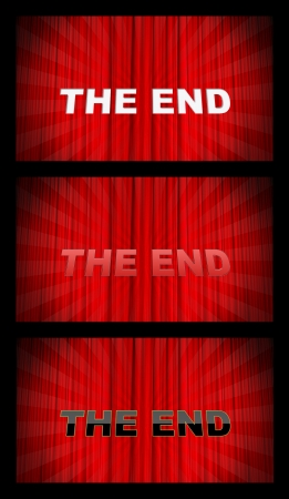 Curtain background with text, 3 elements photo