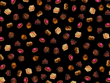 sweetened: Background with chocolate cakes arranged randomly
