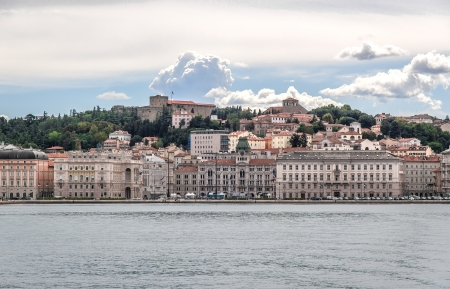 Panoramic view of Piazza Unit  and Molo Audace, Trieste  Italy