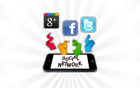 Social Networks on smartphone on white background Editorial