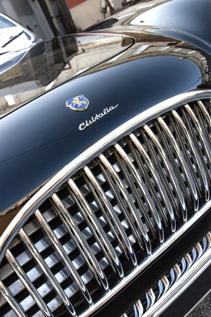 Detail of black classic car Cisitalia 202 1947