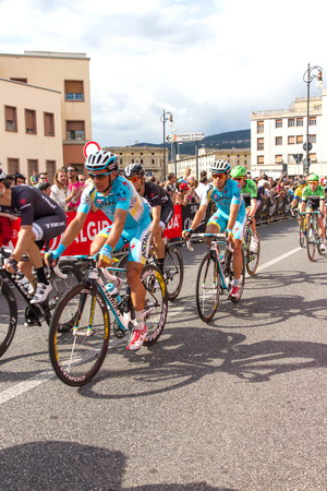 end of a long day: Cyclists competing in the Giro D Italia 2014 in Trieste