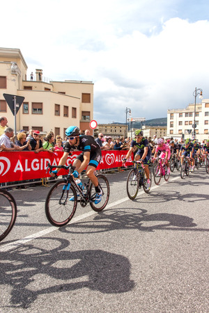 end of the trail: Cyclists competing in the Giro D Italia 2014 in Trieste