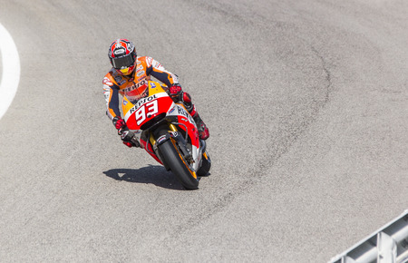 repsol honda: Marc Marquez of Repsol Honda team racing. Misano, September 14, 2014 Editorial