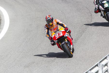 repsol honda: Marc Marquez of Repsol Honda team racing. Misano, September 14, 2014 Editorial