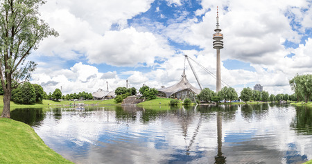 Panoramic view of the Olympiapark, Munich. June 2016