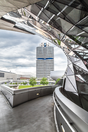 View of the BMW museum and the BMW factory, Munich. June 2016