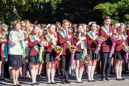 17 18 years: Last bell Lutsk 11th grade high school 14 celebration was held in Lutsk Volyn Region Ukraine