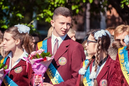 17 18 years: Last bell Lutsk 11th grade high school 14 celebration was held in Lutsk Volyn Region Ukraine, editorial reportage
