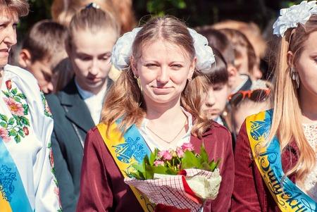 reportage: Last bell Lutsk 11th grade high school 14 celebration was held in Lutsk Volyn Region Ukraine, editorial reportage
