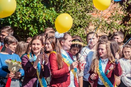 first year student: Last bell Lutsk 11th grade high school 14 celebration was held in Lutsk Volyn Region Ukraine, editorial reportage