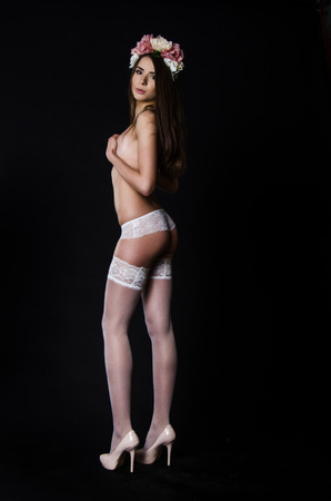 chic panties: Fashion shoot of beautiful woman in luxury lingerie