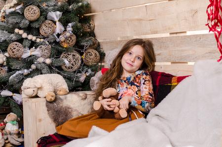 photo studio: Girl Christmas photo shoot in the studio Stock Photo