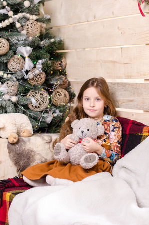 photo shoot: Girl Christmas photo shoot in the studio Stock Photo