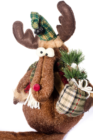 soft toys: Christmas toy elk soft toys brown  with staff