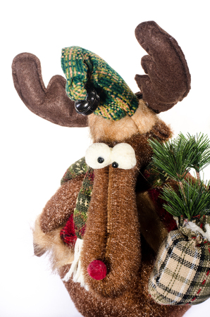 christmas elk: Christmas toy elk soft toys brown  with staff