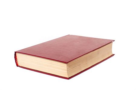 scientific literature: Blank red hardcover book isolated on white background