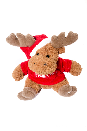 santa moose: Moose Santa Claus small soft toy isolated on white background