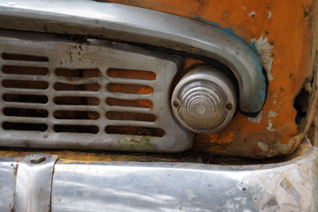 jalopy: Abandoned car wreck by unknown mark found Stock Photo
