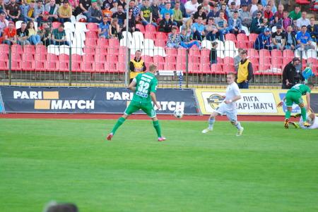 agression: 17042016 report for editorial use football match between FC Volyn and FC Karpaty Stadium Avangard Lutsk Ukraine