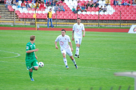 contender: 17042016 report for editorial use football match between FC Volyn and FC Karpaty Stadium Avangard Lutsk Ukraine