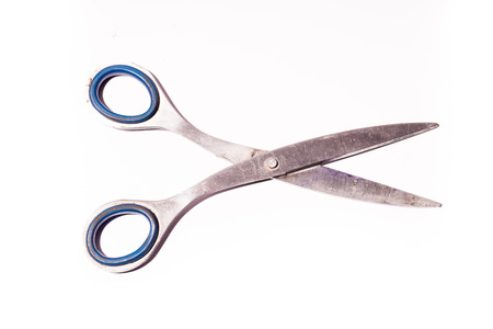 wide open: wide open old tailor shears isolated on white background