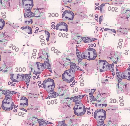 denominations: background of banknotes in denominations hundred Ukrainian hryvnia Stock Photo