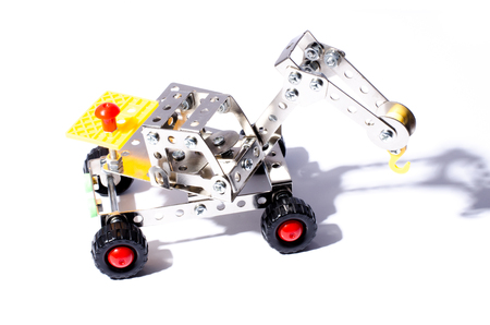 rotates: Children helicopter of metal designer with spinning propeller on the