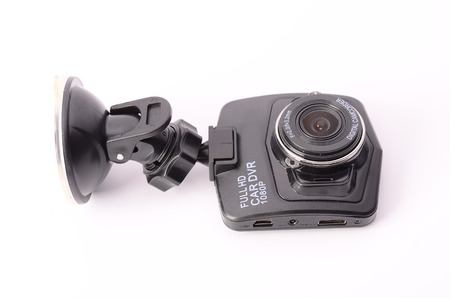 a white police motorcycle: Car DVR isolated on a white background