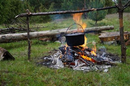 fullhd: Fire under a traditional boiler.