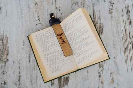 verses: bookmarks for books as comic characters. Stock Photo