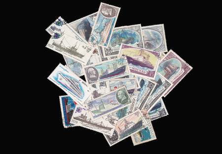 Old soviet military theme stamps Stock Photo