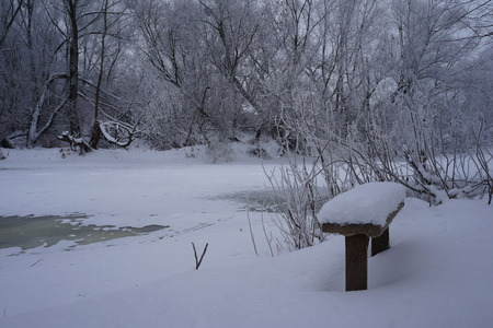 wooden table of free space and winter landscape.