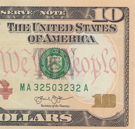 alexander hamilton: Ten dollar bill 10 usd closeup macro, Alexander Hamilton portrait, united states money close up.