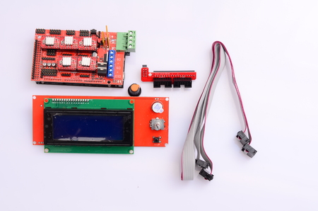 compile: Motherboard 3d printer. Stock Photo