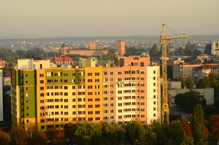 sunset in city Lutsk