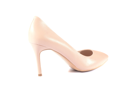 Beautiful fashion purple high heel footwear for women isolated on white background.