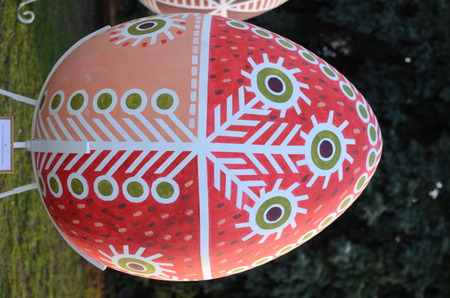 Lutsk, Ukraine - 05.04.2018: Sculpture of a giant Easter egg -Pysanka with traditional Ukrainian decorative ornament pattern