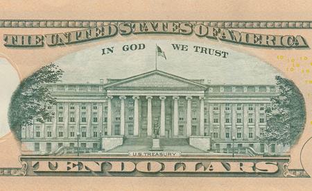 Ten dollar bill 10 usd closeup macro, Alexander Hamilton portrait, united states money close up