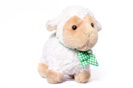Little Sheep plush soft toy isolated on white