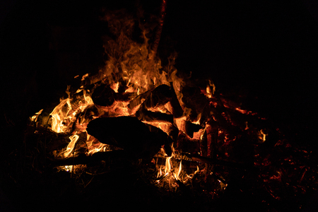 Night campfire with available space at left side