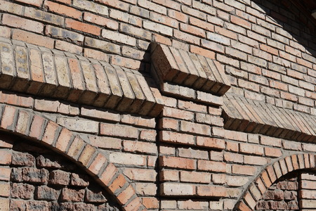 brick wall of red color, wide panorama of masonry. Stock Photo - 124306393