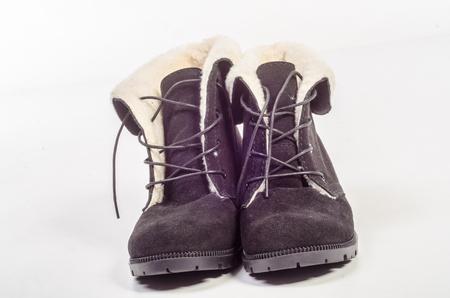 Women's flat photo black shoes isolated on white background.