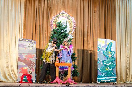 Children's Christmas New Year's concert. Children play with Snow Maiden and Santa Claus. Emotional bright children's show in elementary school. 24 school Ukraine Lutsk 19-06-2016.