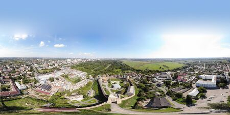 Aerial view of The Lubart Castle in Ukraine. Cityscape Lutsk. Move the camera back from the subject